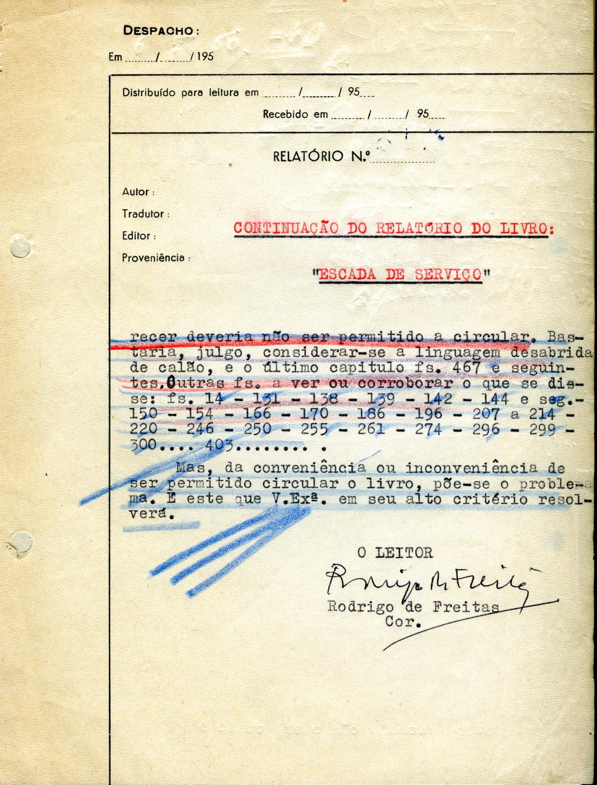 Censura relatrio n 3149 6 de maio de 1960 relativo a escada censura relatrio n 3149 6 de maio de 1960 relativo a escada de servio de afonso ribeiro ephemera biblioteca e arquivo de jos pacheco pereira fandeluxe Choice Image