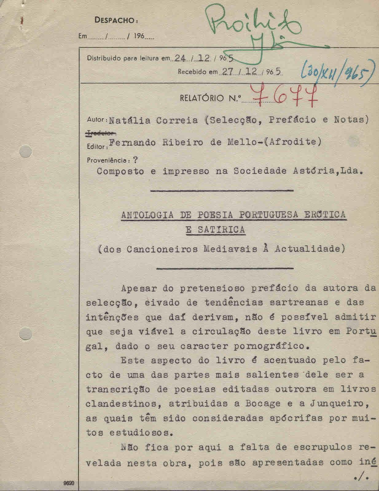 CORREIA (Natália).— ANTOLOGIA DE POESIA PORTUGUESA ERÓTICA E SATÍRICA. (Dos Cancioneiros Medievais à Actualidade).