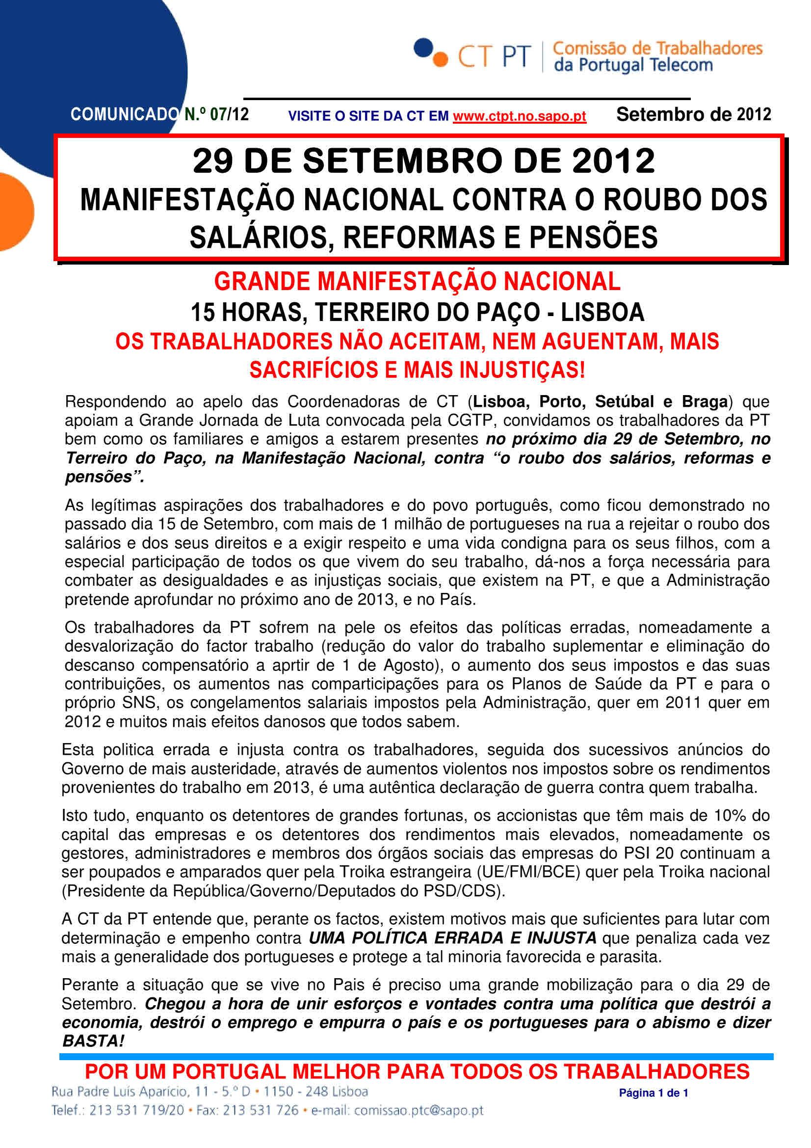 Com 7-12- Manifestação Nacional  – 29 de Setembro – Terreiro do Paço