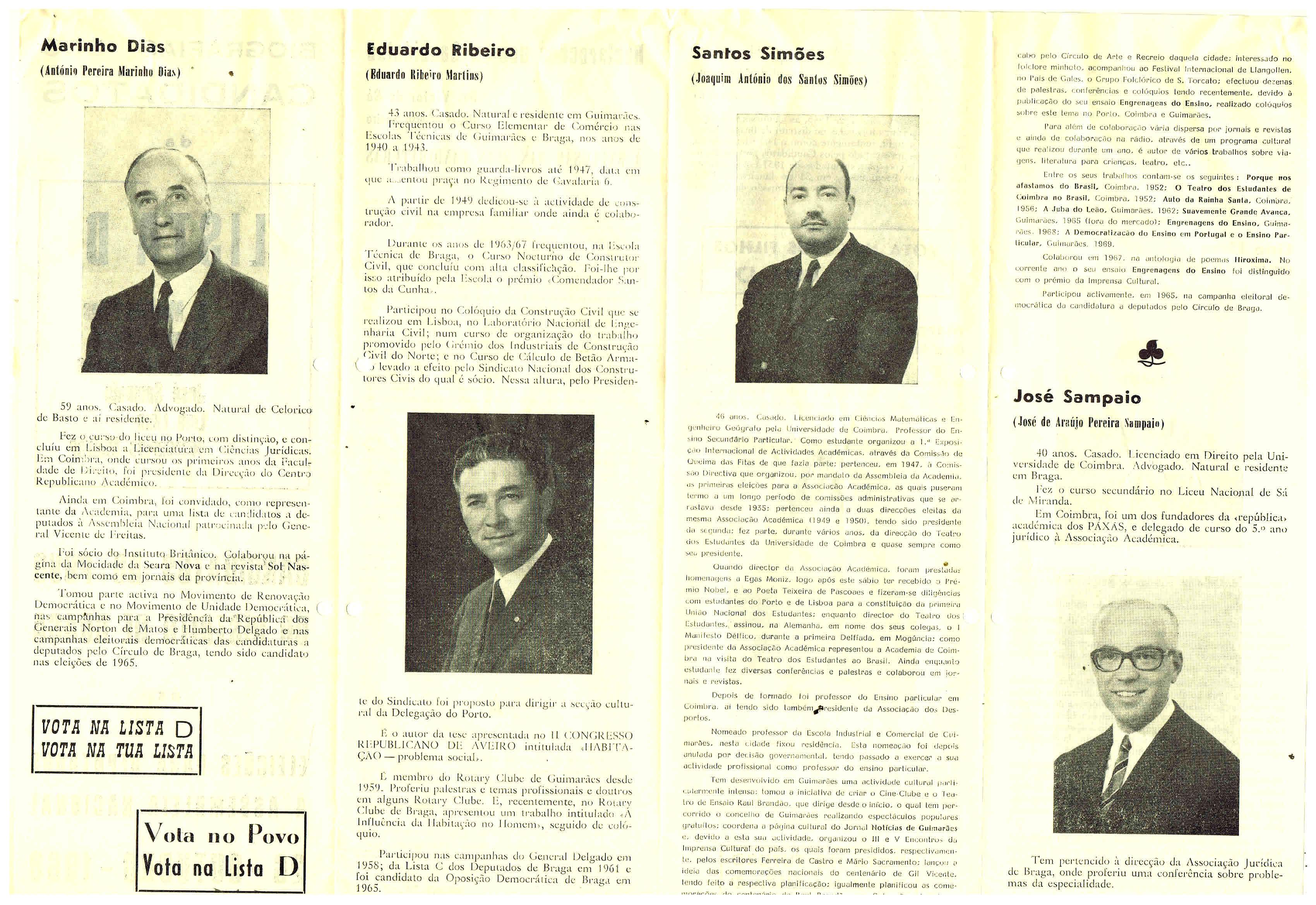 OPOSIÇÃO DEMOCRÁTICA – BRAGA – 1969 – EPHEMERA – Biblioteca