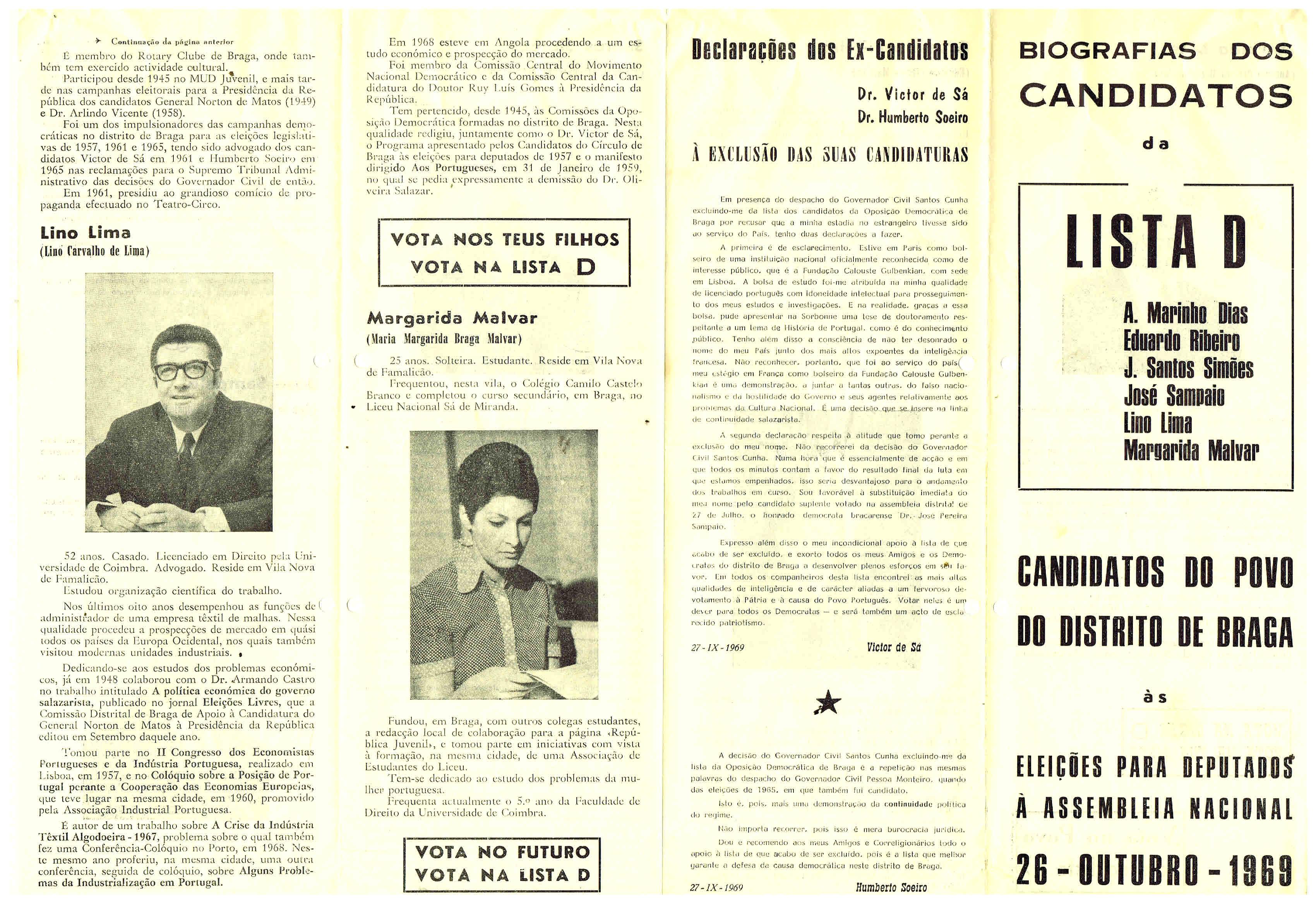 OPOSIÇÃO DEMOCRÁTICA – BRAGA – 1969 – EPHEMERA – Biblioteca e ... 47e311efabc73