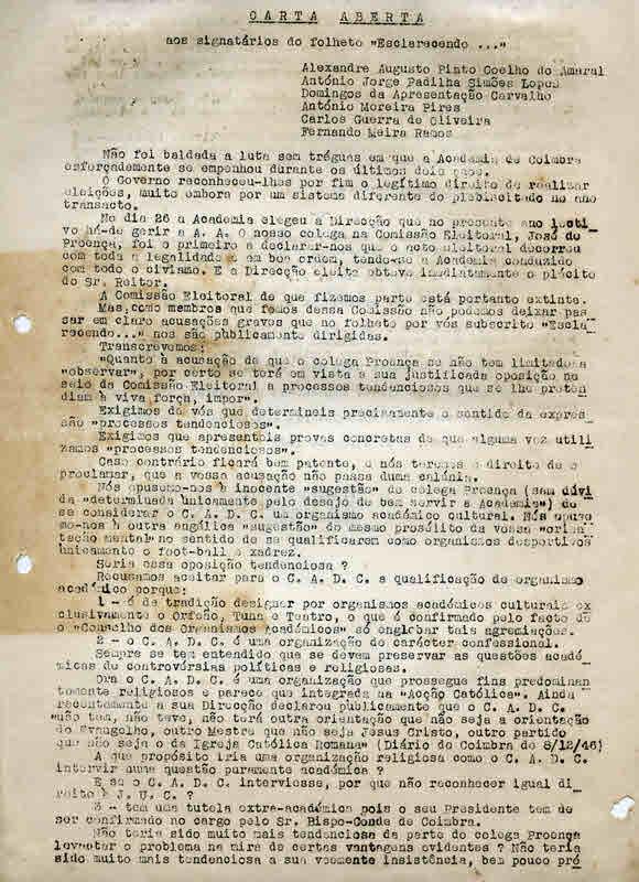 CARTA_ABERTAaosSIGNATARIOSdoFOLHETO_ESCLARECENDO_COIMBRA5MAR1947