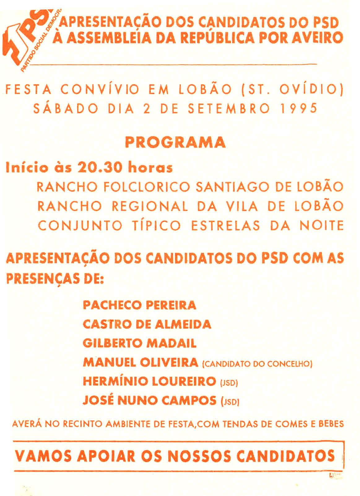 ELEIÇÕES LEGISLATIVAS DE 1995 – PSD – DISTRITO DE AVEIRO – EPHEMERA –  Biblioteca e arquivo de José Pacheco Pereira 50450fb7b85b6