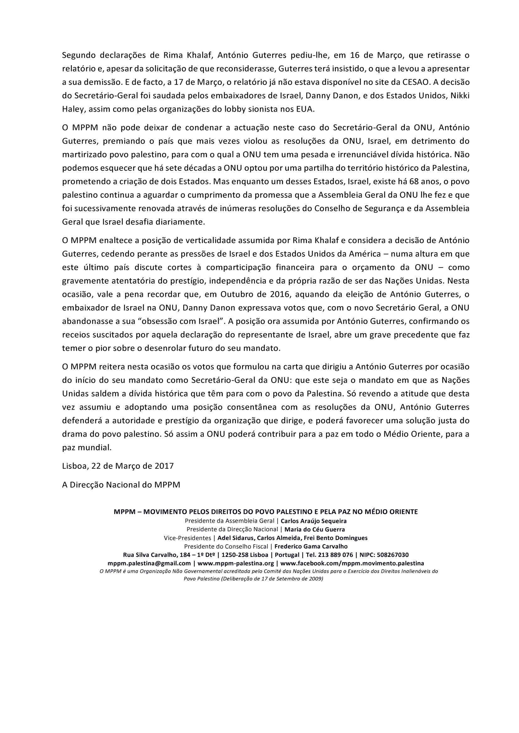 Comunicado 04-2017 – MPPM condena actuação do SG da ONU no caso do relatório denunciando poítica da apartheid de Israel (2)