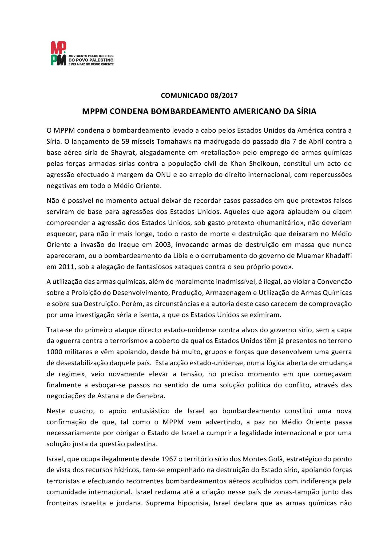 Comunicado 08-2017 – MPPM condena bombardeamento americano da Síria
