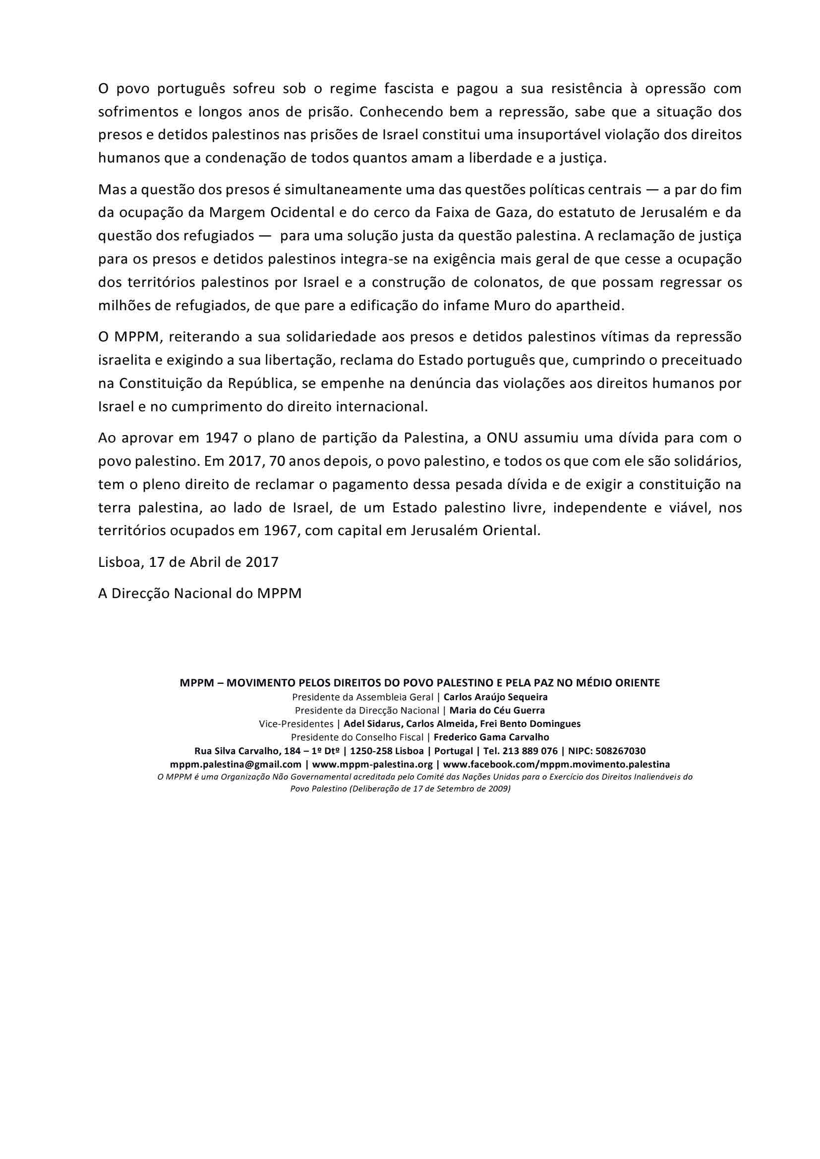 Comunicado 09-2017 – MPPM reafirma solidariedade com presos palestinos (2)