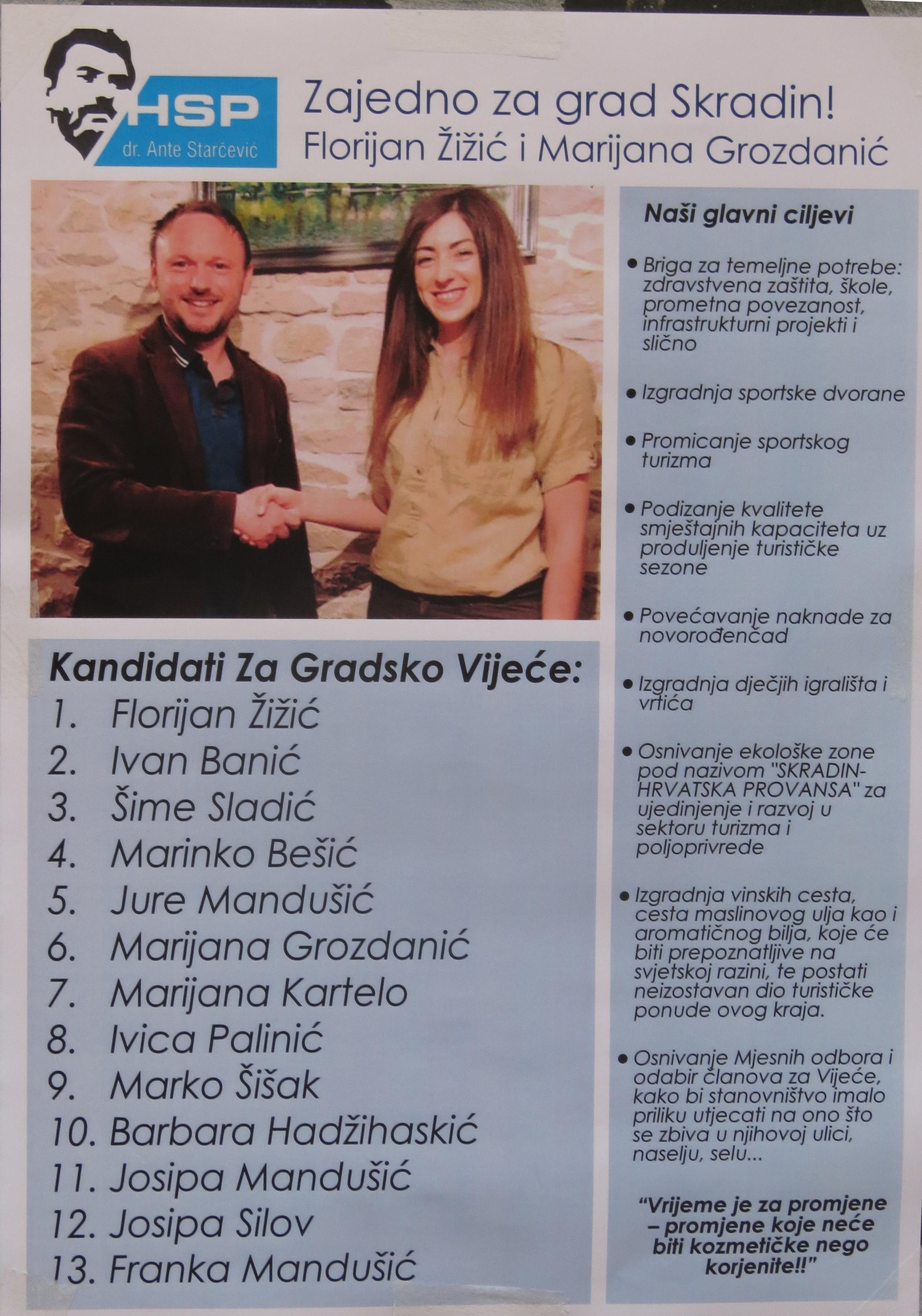 Cidade de Skradin – Hrvatska stranka prava (HSP; Partido dos Direitos Croatas)